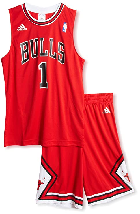 reputable site 40757 c2d24 adidas Kids Chicago Bulls Derrick Rose #1 Jersey Shirt Shorts Set RED in Box