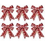 iPEGTOP 6 Pcs Christmas Bows Holiday Ribbons, Shiny Glitter Red Trees Pattern Plastic Fabric Bows for Festive Ornaments Christmas Trees, Wreaths and Gifts Indoor/Outdoor Decoration