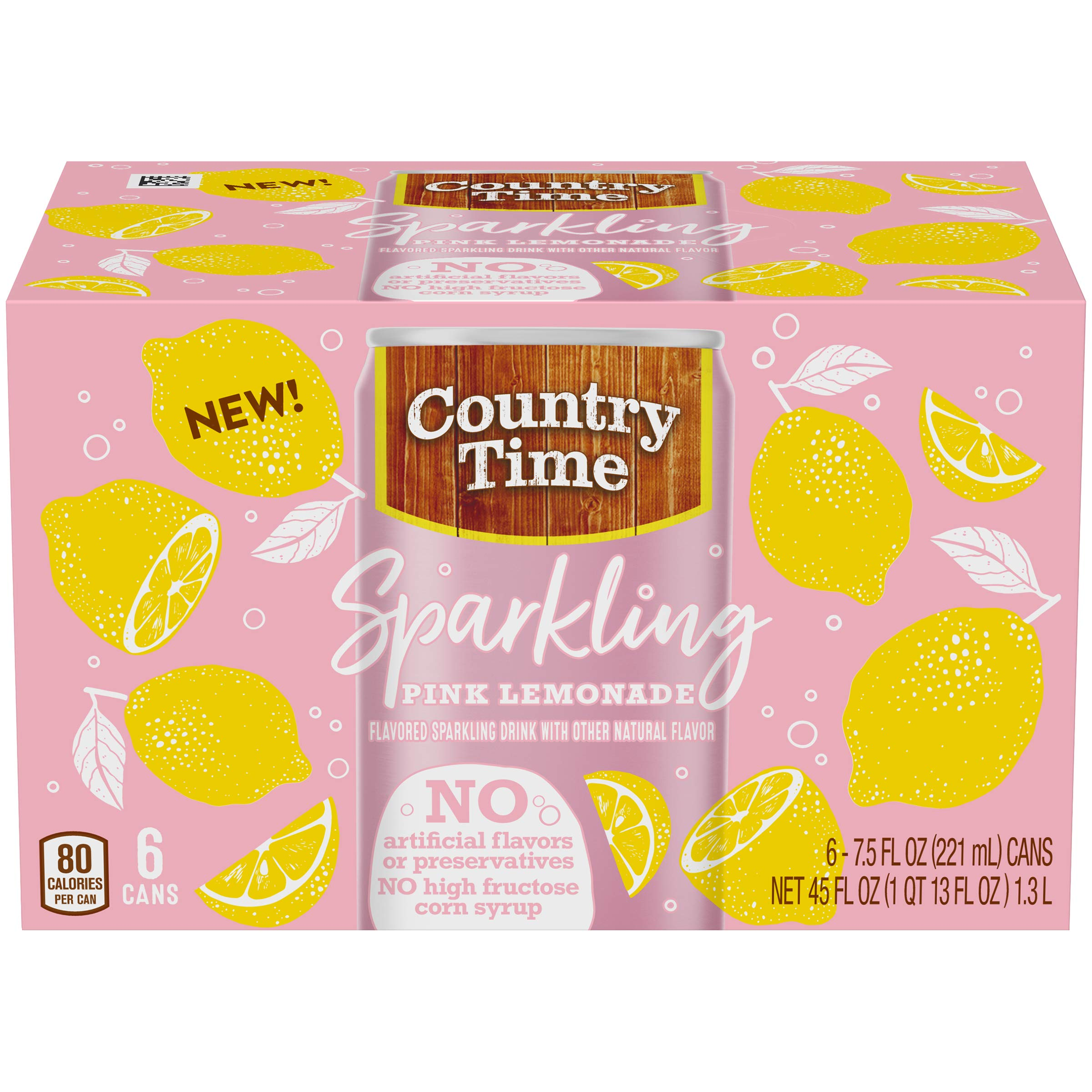 Country Time Sparkling Pink Lemonade Drink Mix (7.5 oz Cans, 6 Count) by Country Time