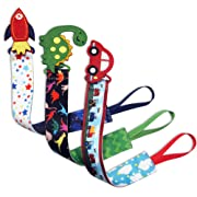 Tidy Todd –Plastic Pacifier Clip with Cartoons, Car, Dinosaur, Rocket – 29 cm Long, Safe & Secure Fit, Perfect (Pack of 3) Talented Kids Secret eBook Included