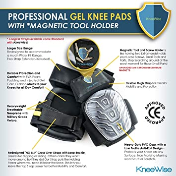 KneeWise Professional Knee Pads Heavy Duty Foam Padding Comfortable Gel  Cushion with Upgraded Magnetic Tool Holder and New Adjustable NO SLIP  Straps