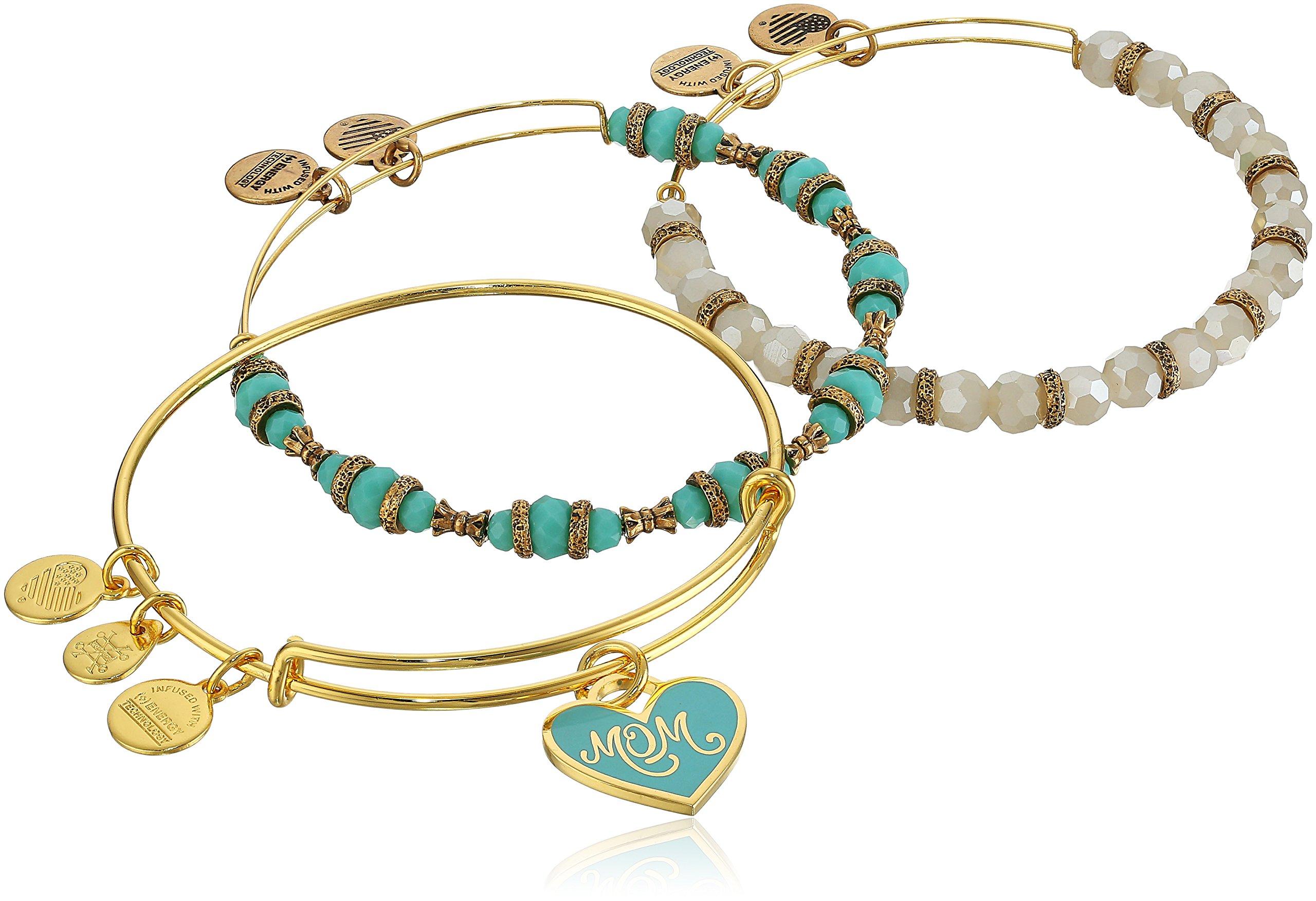 Alex and Ani Color Infusion Set of Three Mom Shiny Gold Bangle Bracelet