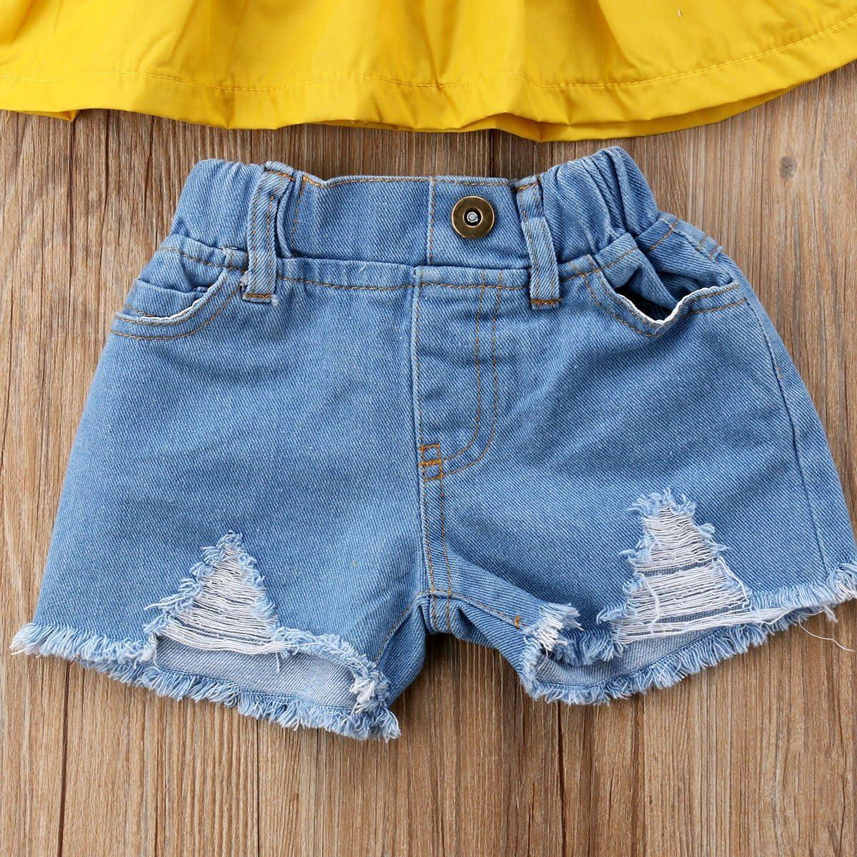 2Pcs Fashion Toddler Kids Baby Girl Ruffles Shirt Top+Denim Shorts Outfits