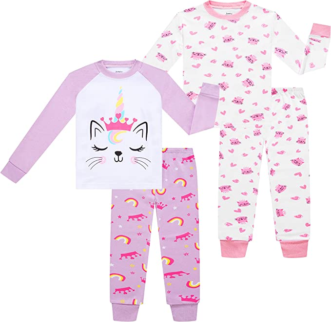 4-Piece Children Sleepwear Pjs for Toddler Boy Cotton Pajama Benaive Pajamas for Boys Lounge Pants Set