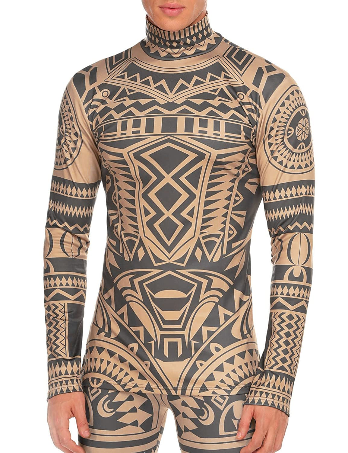 COOFANDY Men's Tribal Tattoo Thermal Turtleneck Pullover Slim Fit Underwear WE033