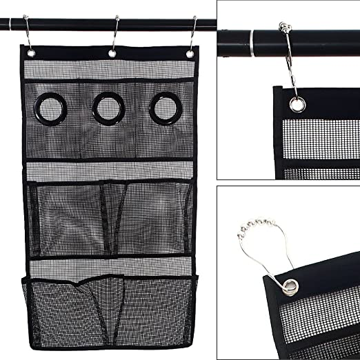NANAN Quick Dry Hanging Bath Organizer Mesh Shower Caddy With 7 Pockets Hang On Curtain