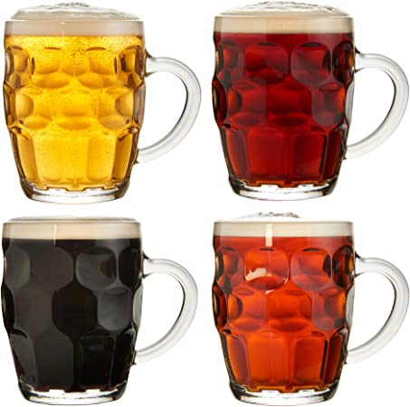 half pint beer mugs SET OF 4 NEW Elegant Beer mug glass Tankards pint
