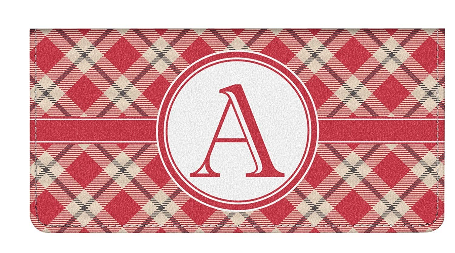 Personalized Red & Tan Plaid Genuine Leather Checkbook Cover ...