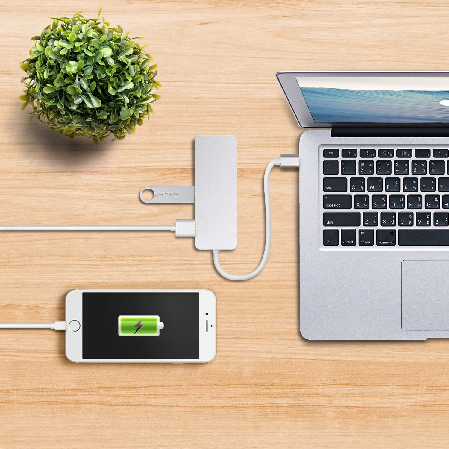 Hulorry Aluminum USB Type-C 5in1 Hub Adapter, 5 USB 3.0 SD/Micro Card Reader for Macbook For Macbook and Other USB Type C Laptop