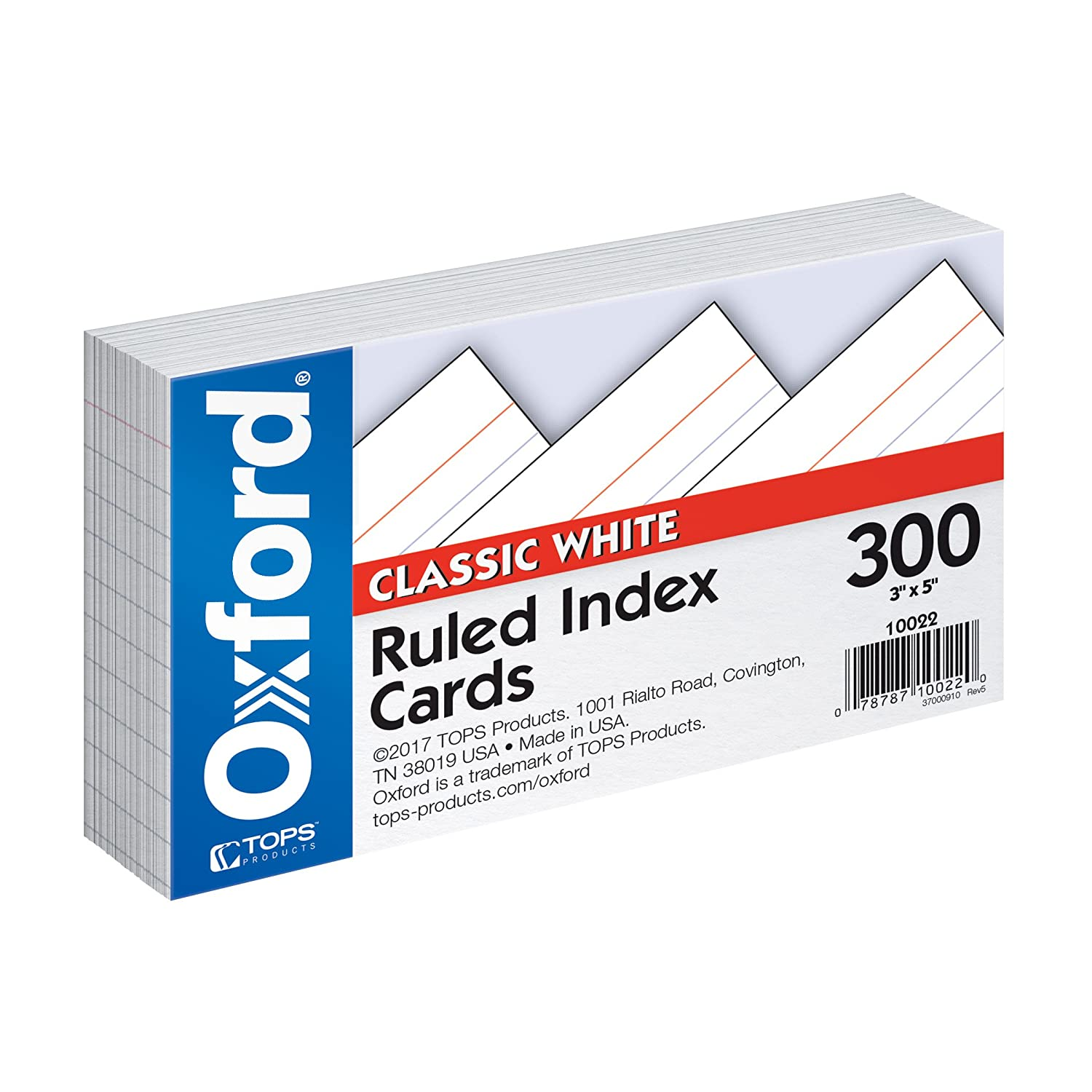 Oxford 30 Percent Recycled Index Cards, Ruled, 5-Inch x 8-Inch, White, Pack Of 300 (10003) Esselte Corporation 10003EE