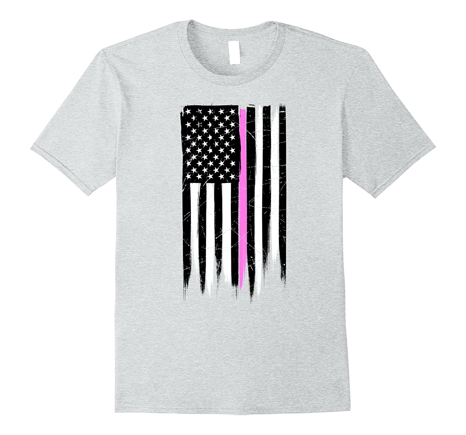 Thin Pink Line Breast Cancer Awareness Flag T-Shirt-RT
