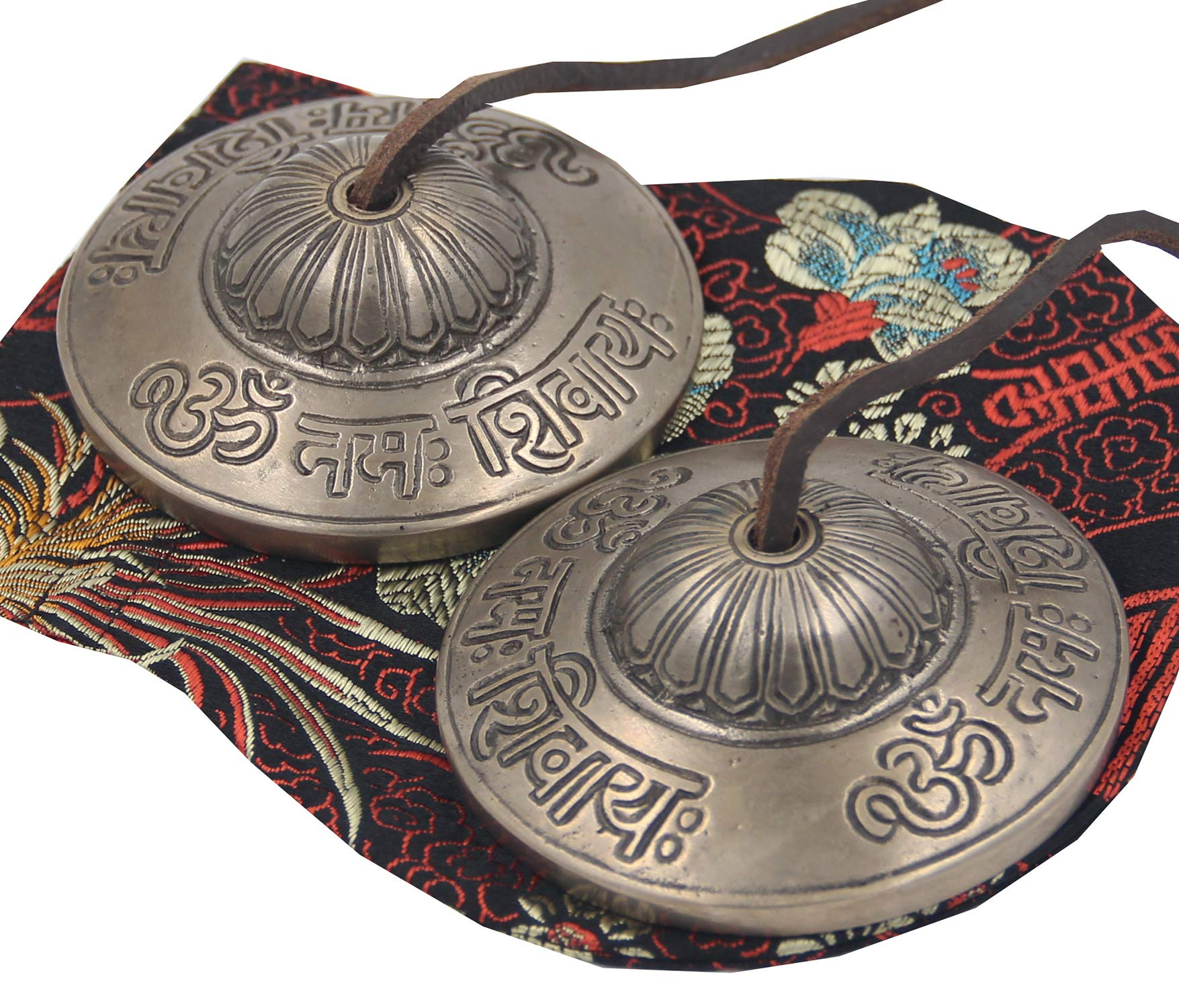 Tibetan Premium Quality ''Om Nama Shivaya'' Tingsha Cymbals 2.5'' With Pouch by Lungta Imports