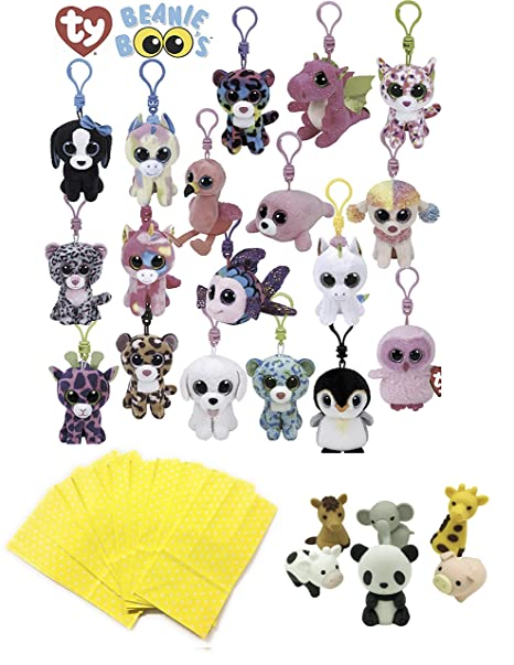 Amazon.com  Girls Stuffed Animals Beanie Boos Bundle Set of Assorted 6  Clips Keychains Plush Toys Party Favors with 6 Animal Puzzle Erasers and 6  Gift ... 50c4f21c1ac2
