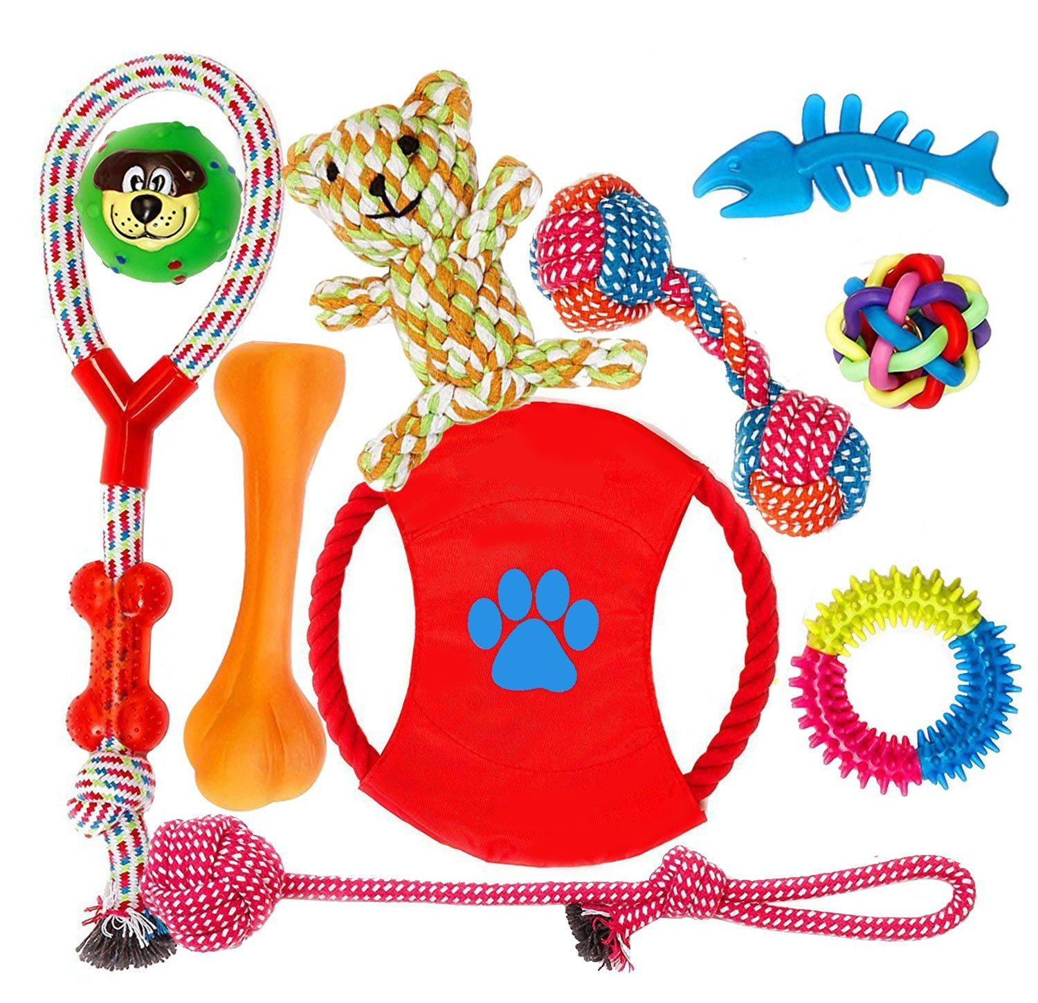 FONPOO Dog Toys Aggressive Chewers Dog Rope Squeaky Toys Gift Dog Chew Toy Squeak Ball Ring Dog Toys Set Safe Medium Doggies Small Puppies