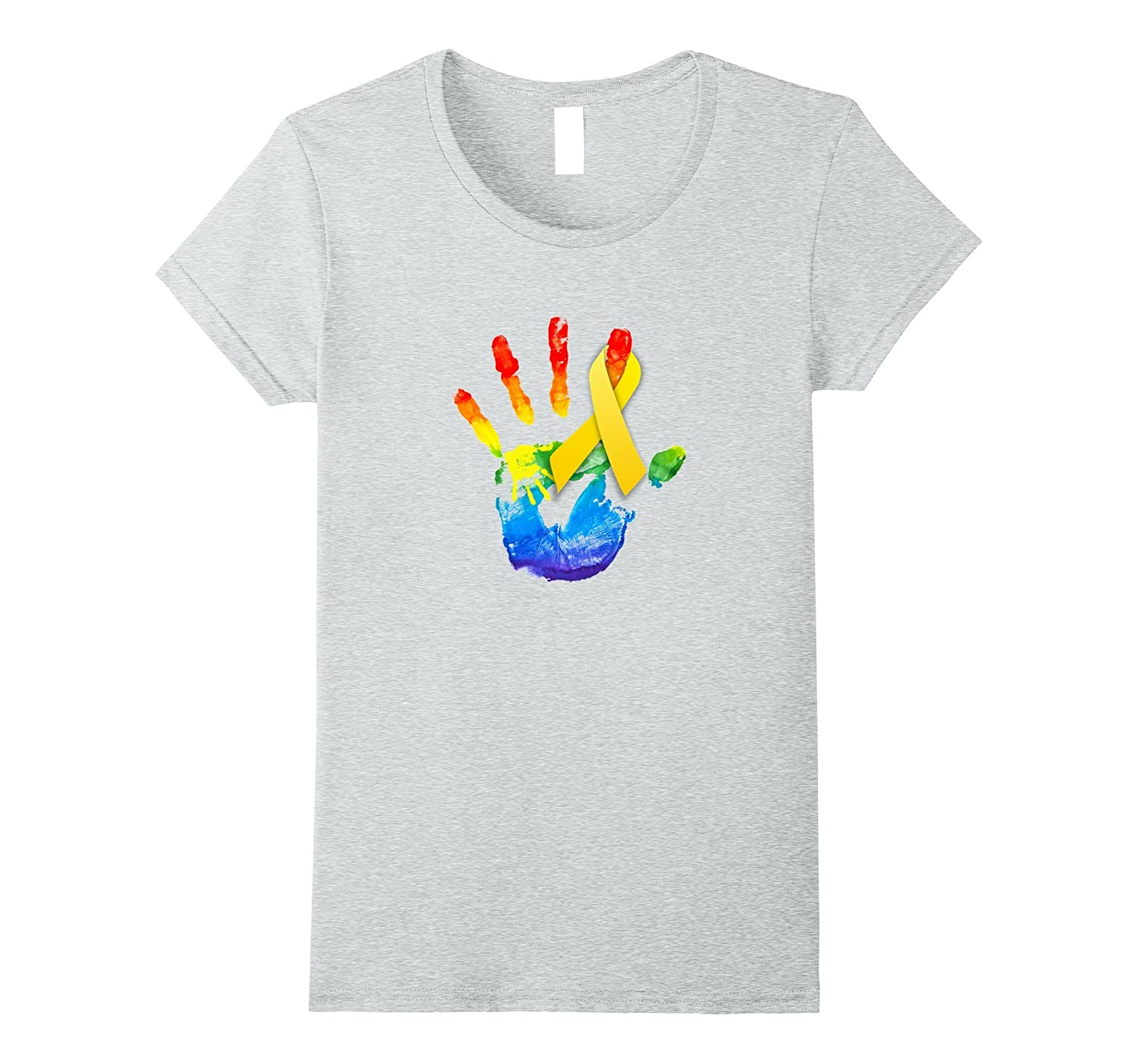 Ribbon yellow with color hands artwork Shirt Cancer T-shirt