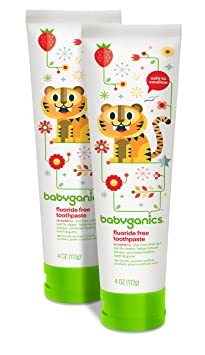 Babyganics Fluoride Free Toothpaste, Strawberry, 4oz Tube (Pack Of 2) by Babyganics
