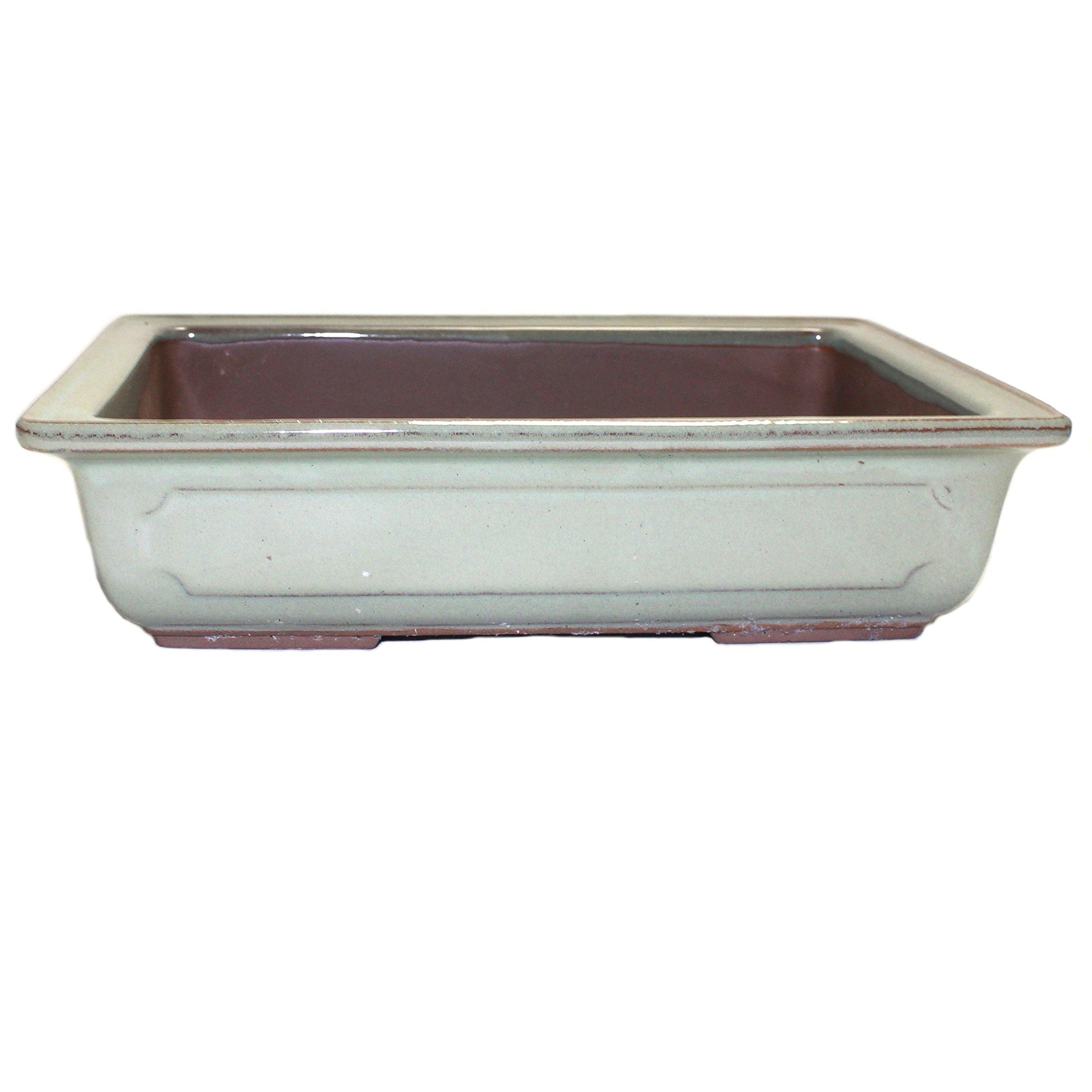 Bonsai Pot Ceramic Rectangle Window Shaped Decorations (9'', Oribe-Yu)
