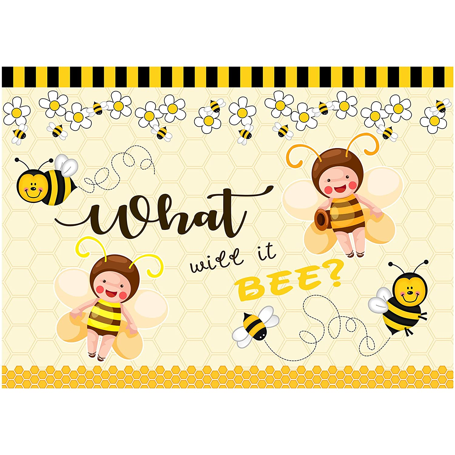 musykrafties what will it Bee Large Baby Shower banner Gender Reveal party Scenografia decorazione dessert Table background 7 x 5 piedi