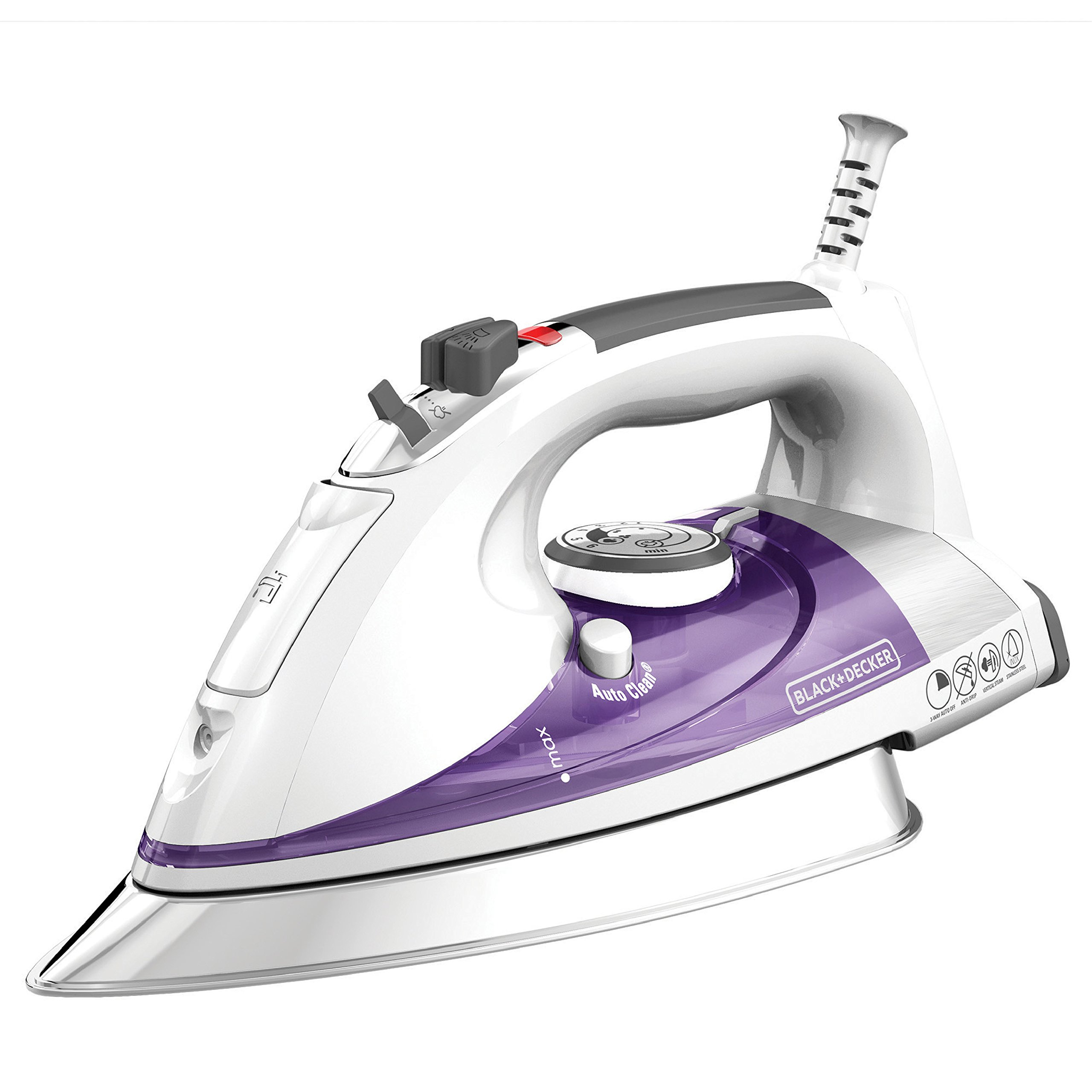 BLACK+DECKER Professional Steam Iron with Extra Large Soleplate, Purple, IR1350S by BLACK+DECKER