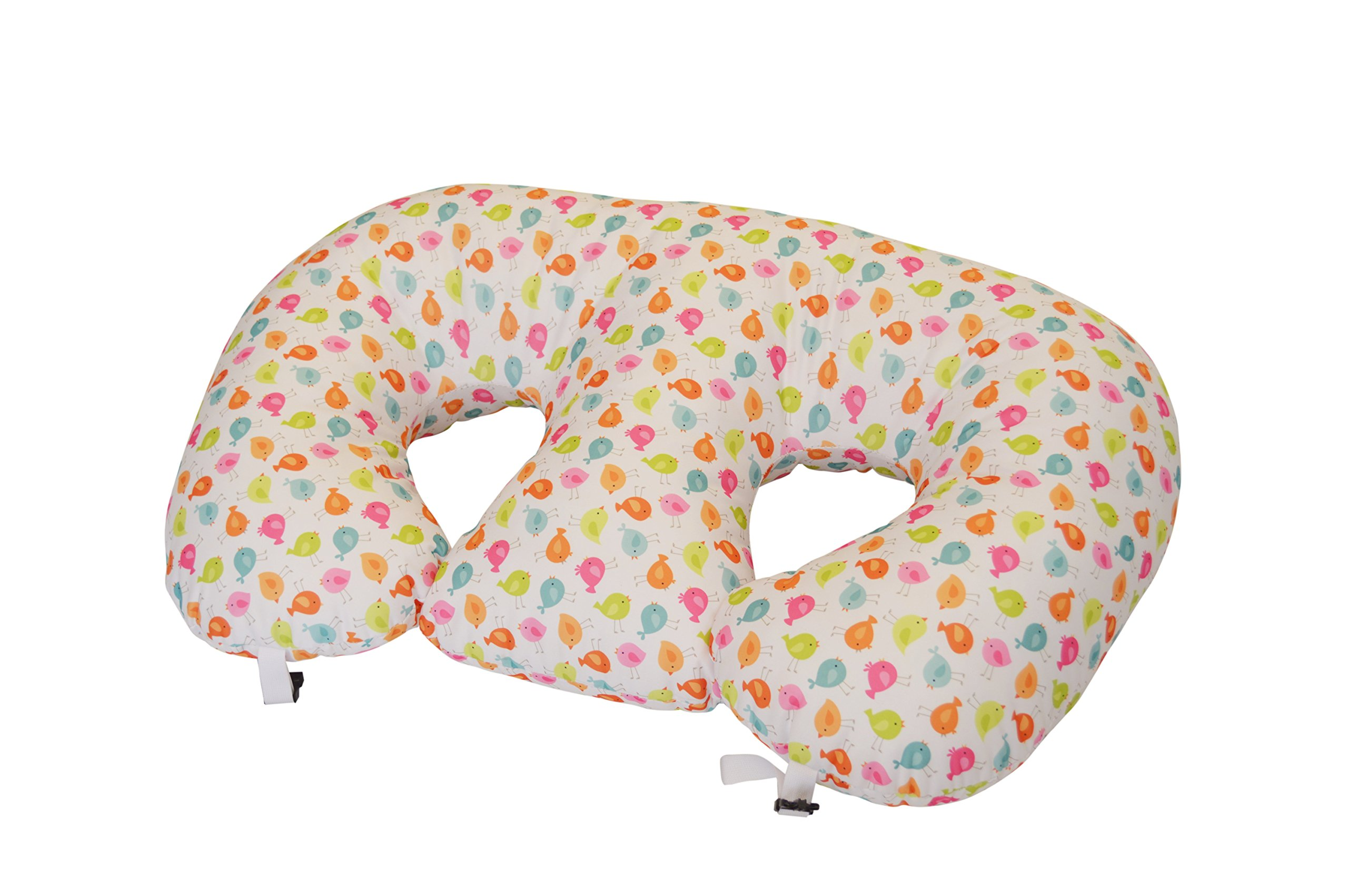 THE TWIN Z PILLOW - Waterproof BIRDIES Pillow - The only 6 in 1 Twin Pillow Breastfeeding, Bottlefeeding, Tummy Time & Support! A MUST HAVE FOR TWINS! - No extra cover by Twin Z PIllow (Image #1)