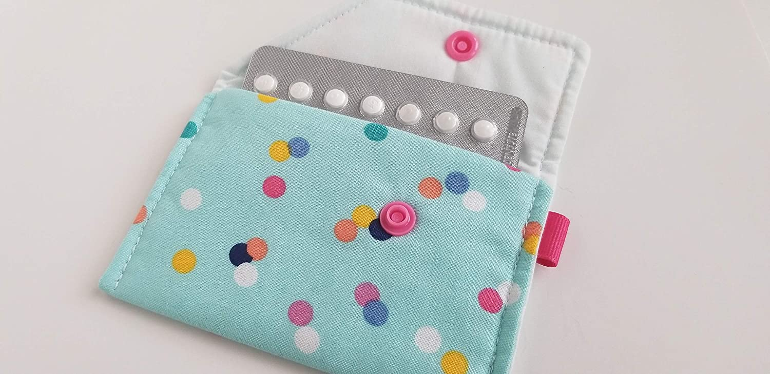 Dots Birth Control Case Sleeve with Snap Closure and Optional Keychain Clip