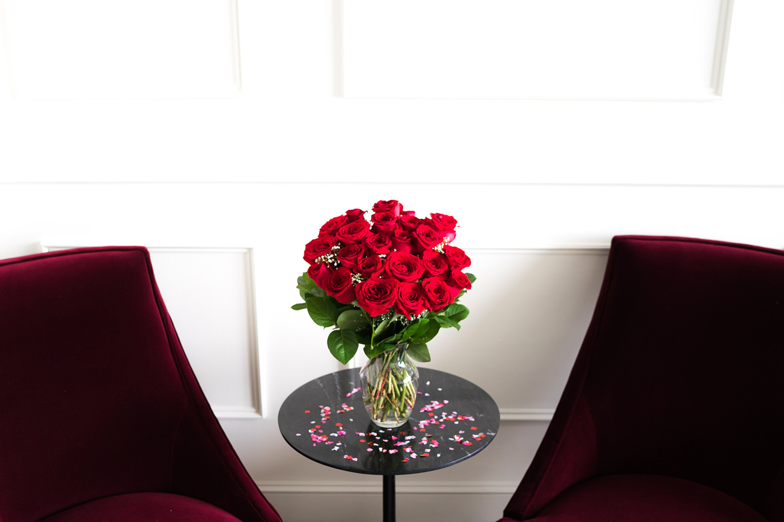 Flowers - Two Dozen Long Stemmed Red Roses (Free Vase Included)