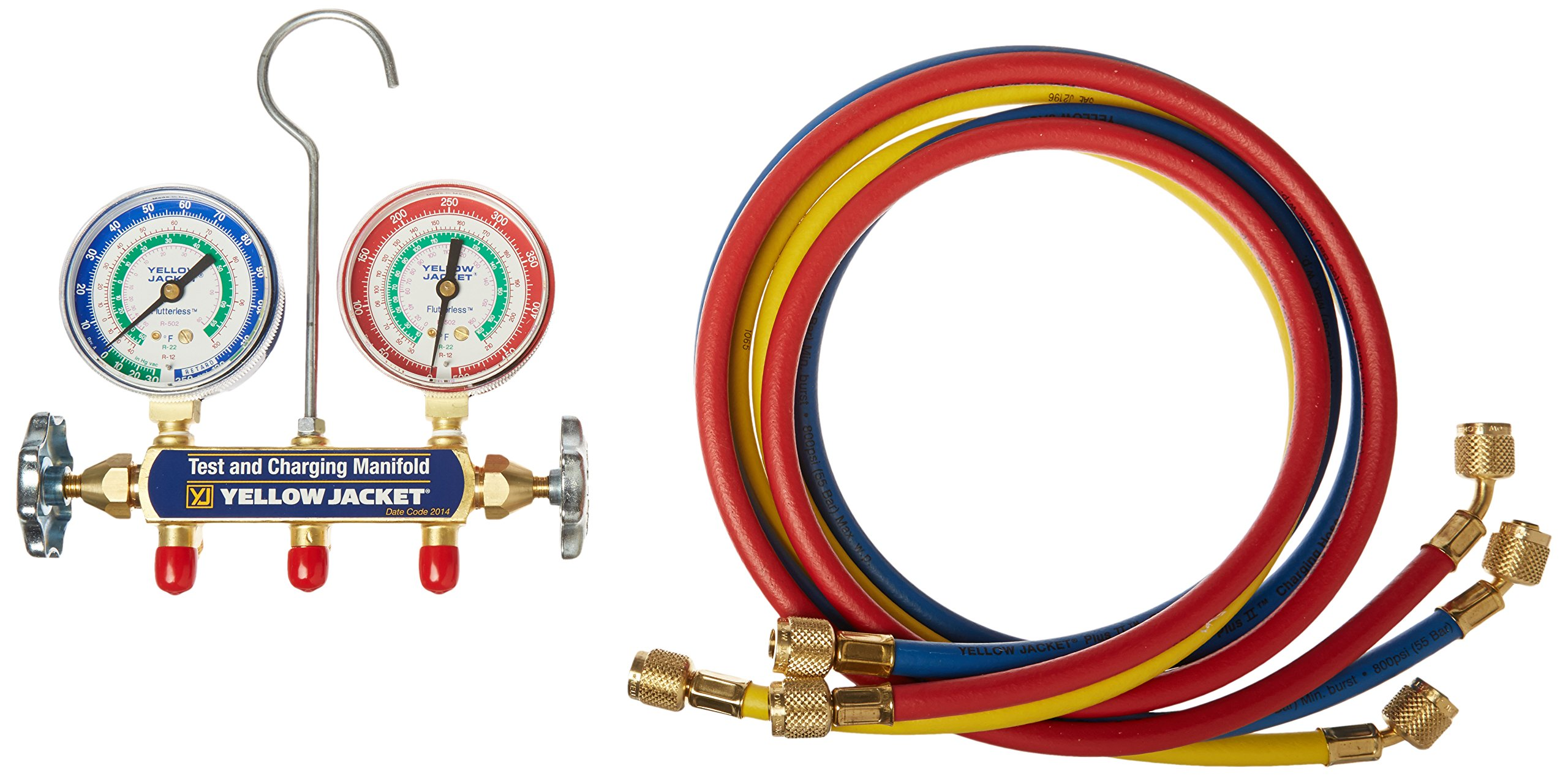 Yellow Jacket 41215 Series 41 Manifolds with 2-1/2'' Gauges, 60'', psi, R-12/22/502, Red/Yellow/Blue