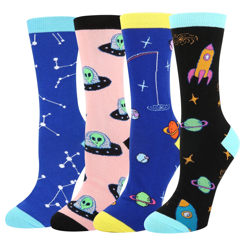 Women's Novelty Crazy Crew Socks Space Alien Rocket Astronaut Constellation Dress Socks