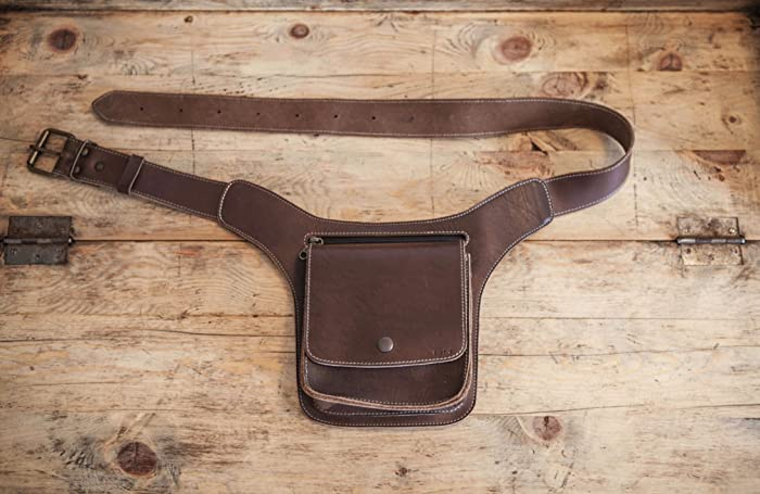 031a21b86709 Amazon.com: Brown Leather FANNY PACK // Mens Leather Belt Bag ...
