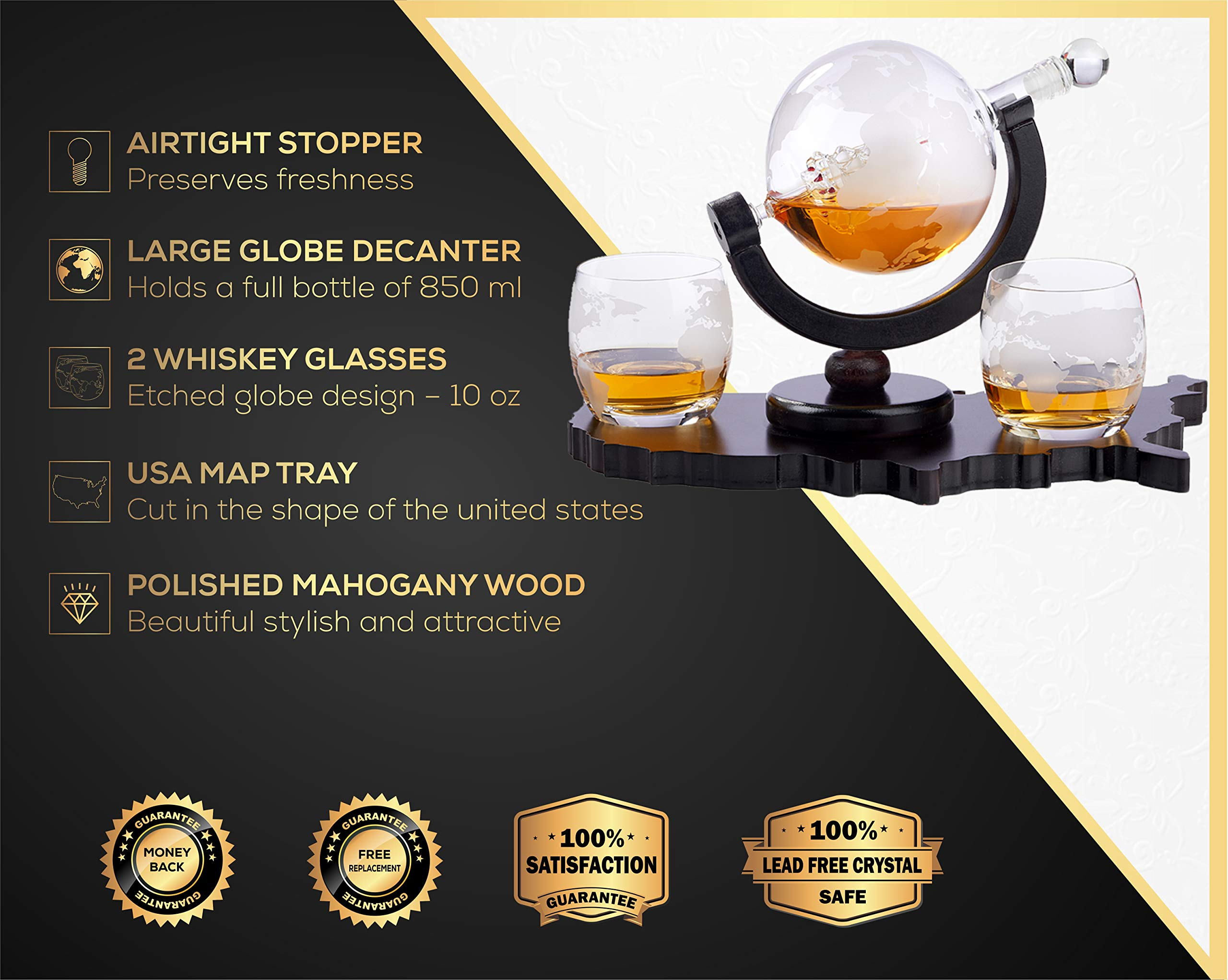Whiskey Decanter Set World Etched Globe Decanter Airtight Stopper Antique Ship Liquor Dispenser Perfect Bar Gift Bourbon Scotch Vodka Liquor USA Map Tray 850 ml by Bezrat (Image #2)