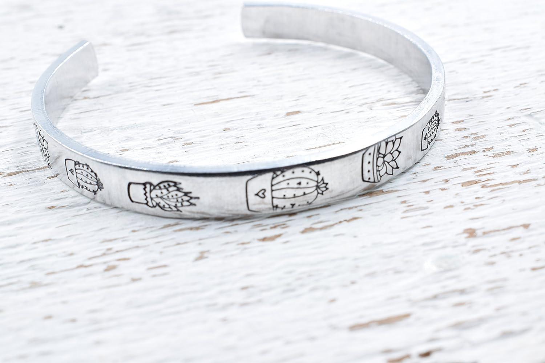 Succulent Bracelet Hand Stamped Cuff