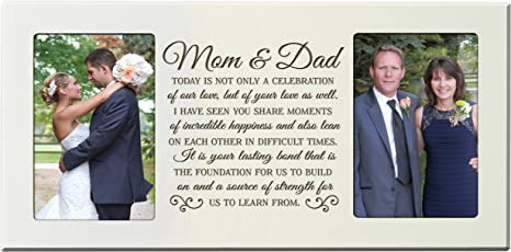 Mom and Dad Wedding Gift Bride Gift to Parents Groom/'s Parents Wedding Gift Personalized Picture Frame     13x15 overall