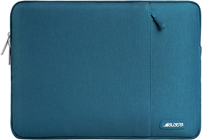MOSISO Laptop Sleeve Bag Compatible with 13-13.3 inch MacBook Pro, MacBook Air, Notebook Computer, Water Repellent Polyester Vertical Protective Case Cover with Pocket, Deep Teal
