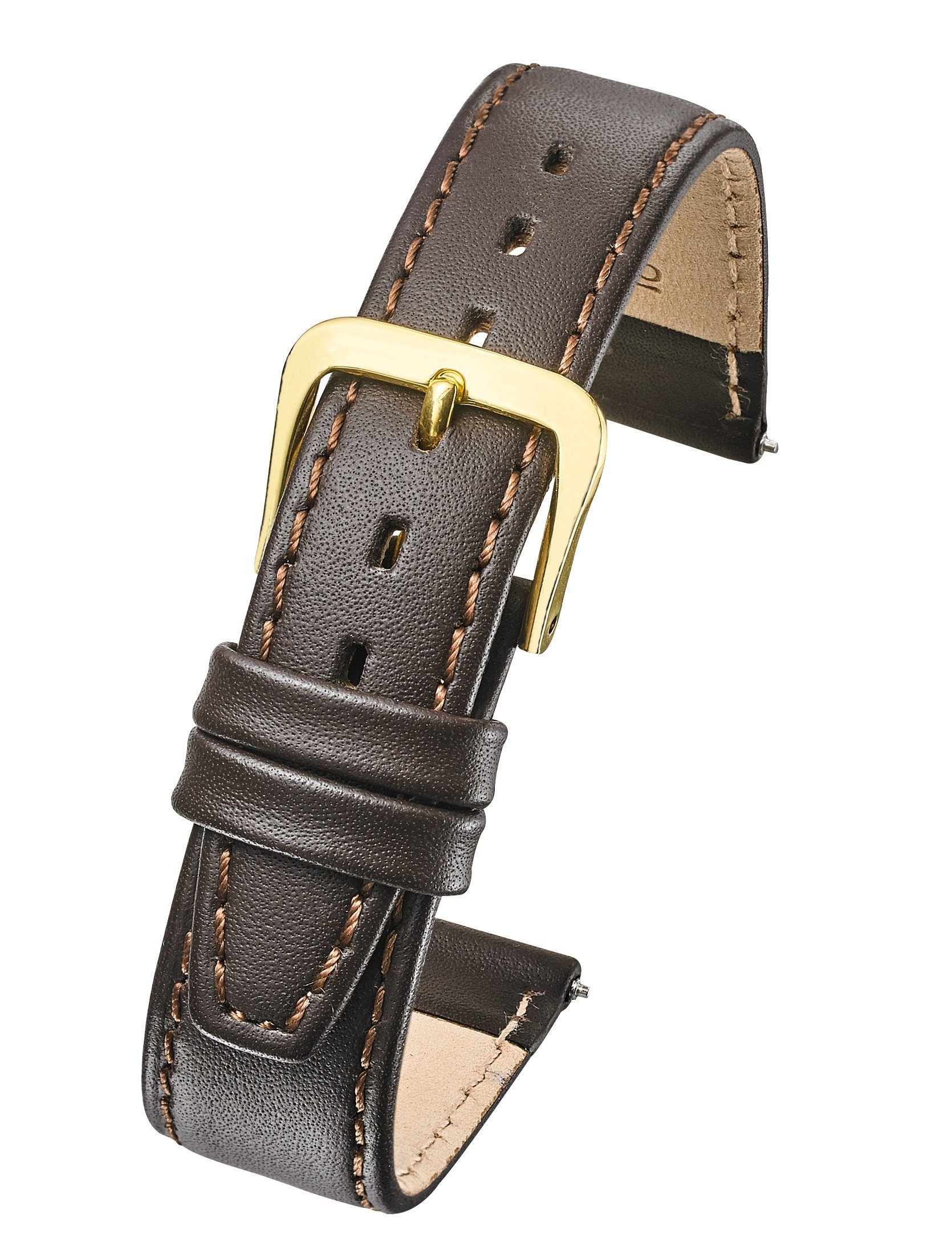 Genuine Leather Watch Band - Flat Stitched Calf Leather Watch Strap 12mm - Brown