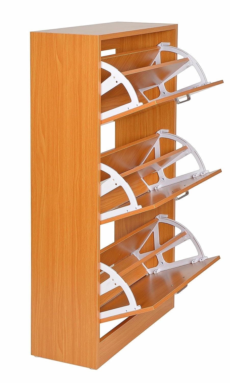ts-ideen Scarpiera Salvaspazio da parete 104x60 cm in Faggio Biondo stile moderno con tre scomparti ad anta basculante.