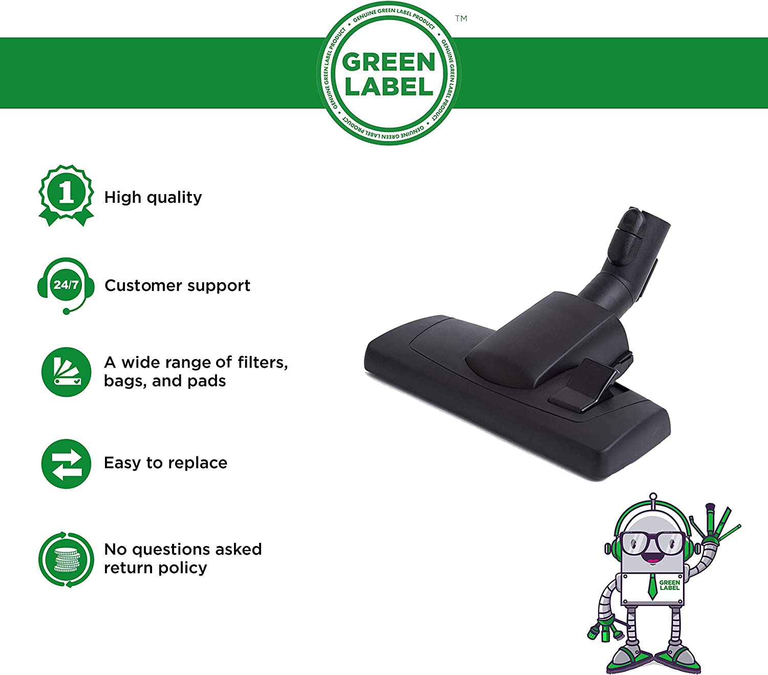 For Miele S1/S2/S4/S5/S6/S8Vacuum CleanerReplacement35 mmFloor Tool Brush (compares to AllTeQ SBD 285-3, 7253830). Genuine Green Label Product