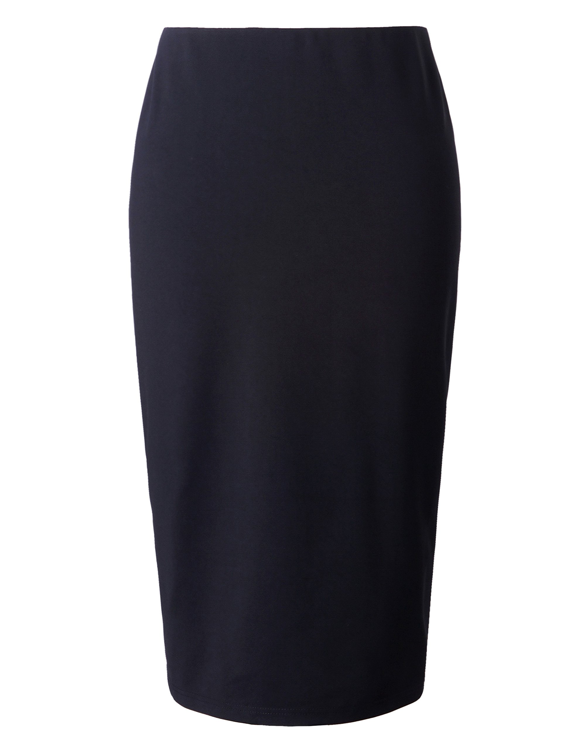 Chicwe Women's Plus Size Stretch Long Tailored Calf Length Pencil Skirt with Elastic Waistband 3X