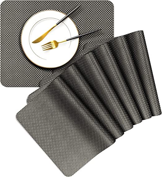 Placemats Set of 6 Dinner Table Mats Easy to Clean Washable Woven Anti slip PVC
