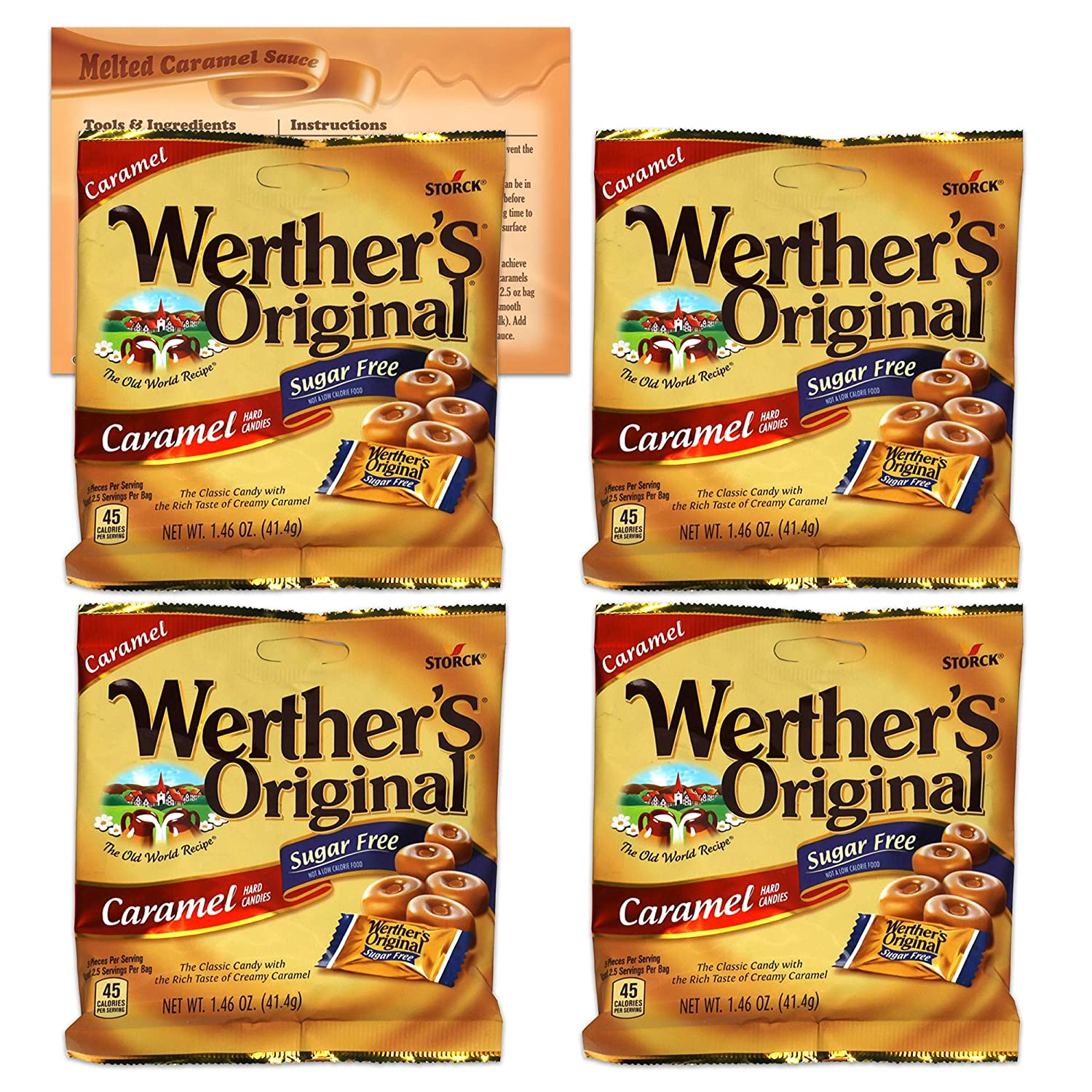 Werthers Sugar Free Hard Candy | 4 Pack of Werthers Original Hard Candy - 1.46 Ounce Each Bag | Diabetic Snacks, Low Carb Snacks, Keto Candy | Bundled with Ballard Caramel Sauce Recipe Card