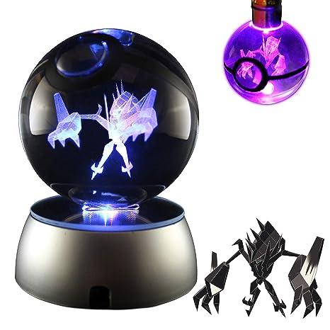 3D Lamp Crystal Ball LED Night Light 7 colors Pokemon Pokeball Pikachu Key Rings