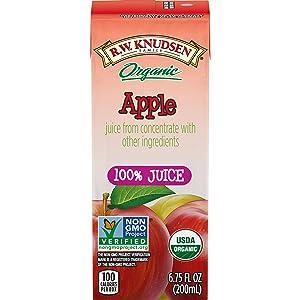 R.W. Knudsen Organic 100 Percent Juice Apple Juice Boxes, 6.75 Fluid Ounces (Pack of 28)