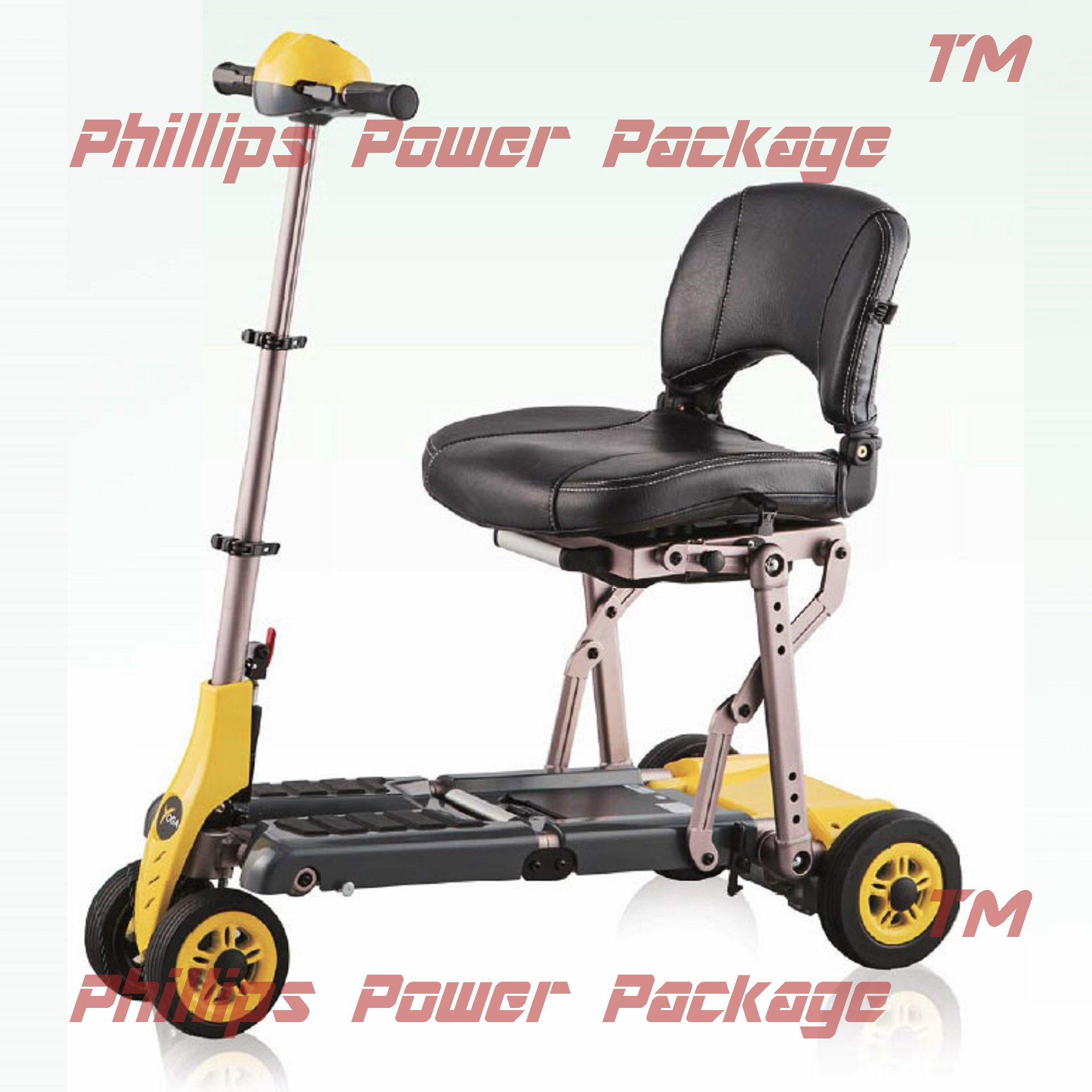 Merits Health Products - Yoga - 4-Wheel Portable Folding Scooter - 16''W x 14''D - Yellow - PHILLIPS POWER PACKAGE TM - TO $500 VALUE