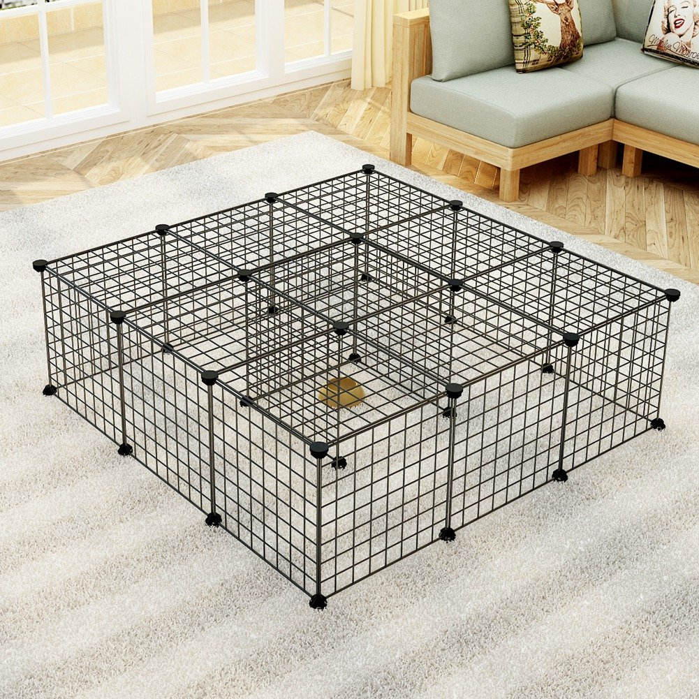 JYYG Pet Playpen, Small Animal Cage Indoor Portable Metal Wire Yard Fence for Small Animals, Guinea Pigs, Rabbits Kennel Crate Fence Tent, Black,24 Panels by JYYG (Image #5)