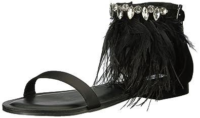 c0692a276dda Steve Madden Women s Adore Flat Sandal Black Multi 5.5 M US
