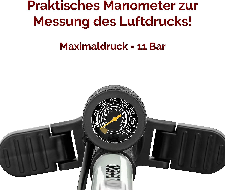 CYCLEHERO Fahrradluftpumpe Fahrradpumpe mit /übersichtlichem Manometer Display praktischer Adapterhalterung Luftpumpe Fahrrad f/ür alle Ventile inkl Schwarz /& Silber