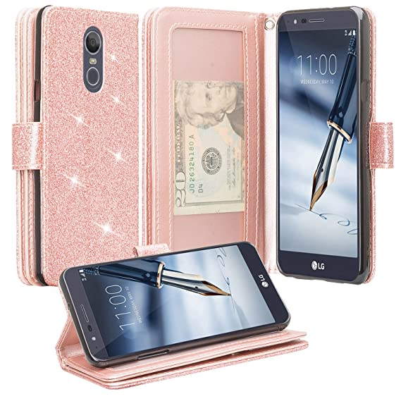 new styles 83199 19cae LG Stylo 4 Plus Case, LG Stylo 4 Case [GW USA] Cute Girls Women Pu Glitter  Leather Wallet Case [Kickstand] ID&Credit Card Slot Phone Case for LG Stylo  ...