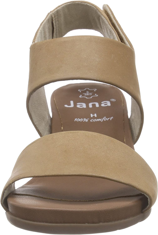 Jana 28700, Sandales Bout Ouvert Femme Marron Braun