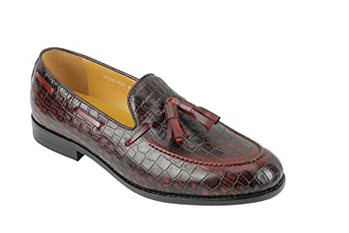 64a9cff5eb1 Mens Brown Real Leather Tassel Loafers Smart Casual Snakeskin Print Retro  MOD Slip on Shoes
