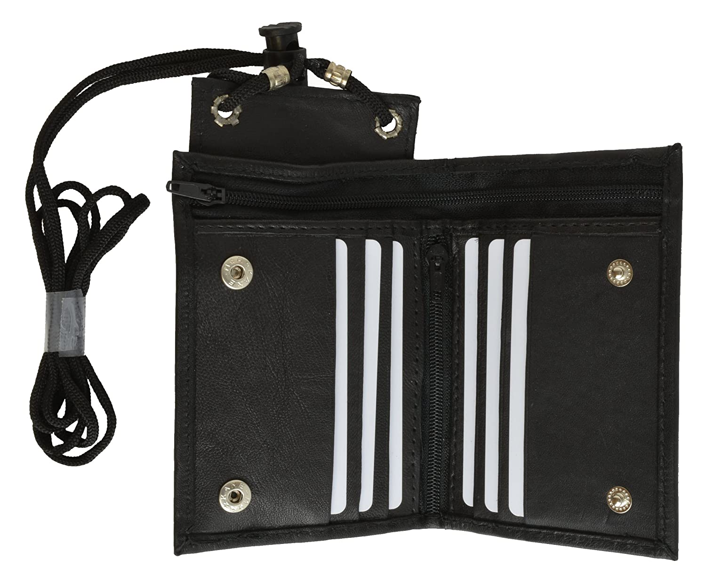 100% Genuine Leather Bi-fold I D Holder Black #1561