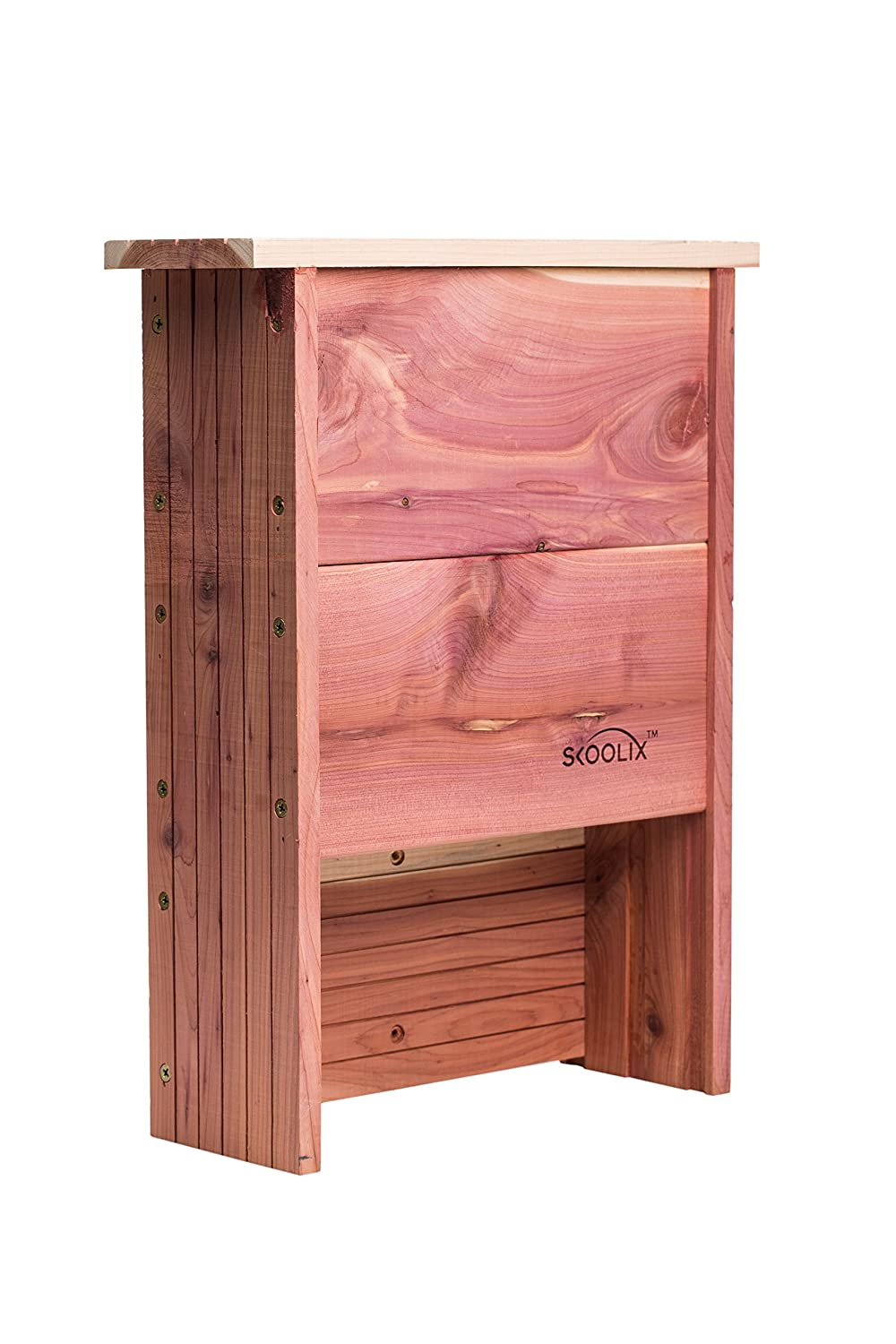 Wooden Bat House for Outdoors ~ Multi Double Chamber Bat Box~ Premium Red Cedar ~ Outdoor Bat Shelter ~ Environmental Friendly Natural Mosquito & insect control for your yard, flower and vegetable garden SKOOLIX